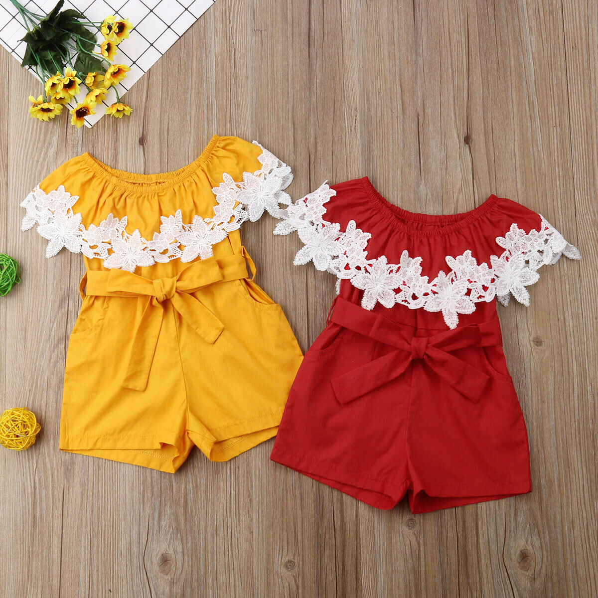 Newborn Baby Girl Clothes Lace Flower Solid Color Rompers Jumpsuit One-Piece Outfit Playsuit