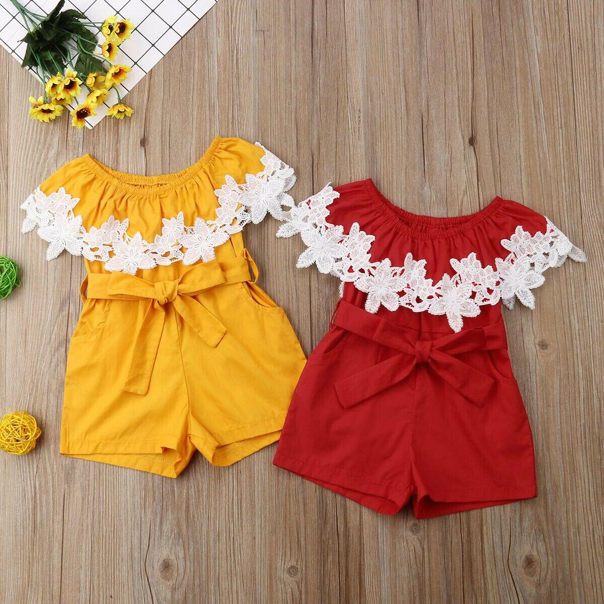 יילוד תינוקת בגדי תחרה פרח מוצק צבע Rompers סרבל מקשה אחת תלבושת Playsuit