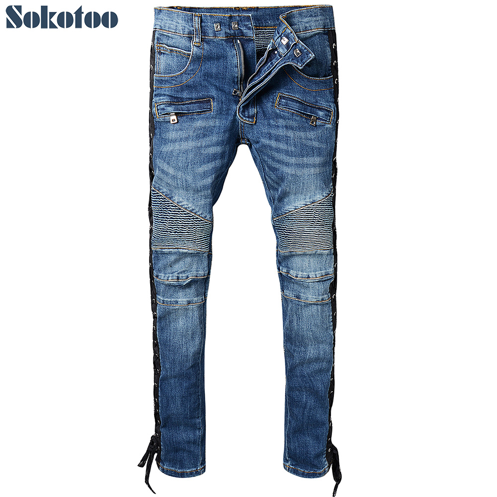 Sokotoo Mens lace up blue stretch cotton denim biker jeans Slim fit zipper pockets pleat ...
