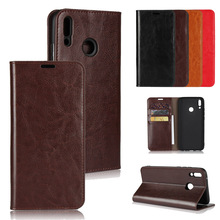 LUCKBUY For Huawei Y9 2019 Classic Busines Genuine Leather Wallet Stand Flip Credit Card Pockets for Y6 2018 Book Case