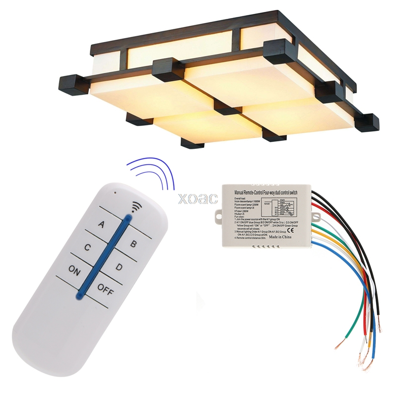 Wireless 4 Channel ON/OFF Lamp Remote Control Switch Receiver Transmitter New   M09 Dropship