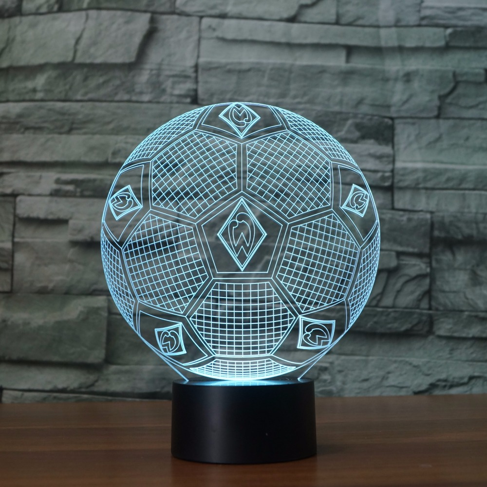 3D Illusion Lamp sportverein Soccer Acrylic model with 7 colors Changing