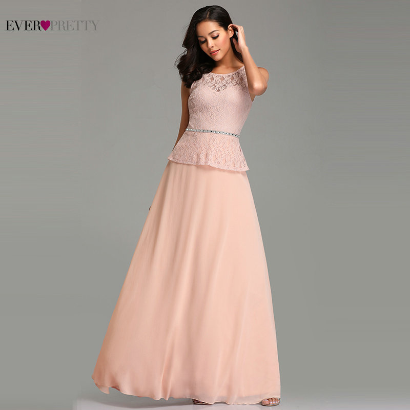 Blush Pink   Prom     Dresses   Long 2019 Abendkleider Ever Pretty EZ07733 Elegant A-line Sleeveless Lace Beading Wedding Party Gowns