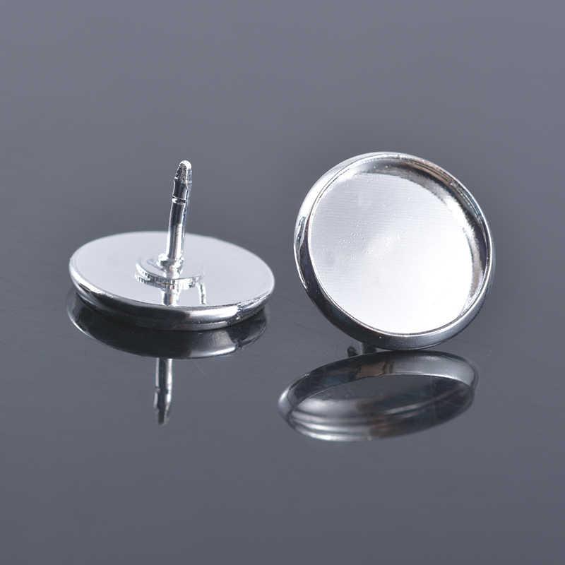 10 Uds de cristal 12mm 12 pendiente de cabujón pendientes de base en blanco pendiente del bisel para DIY Findding