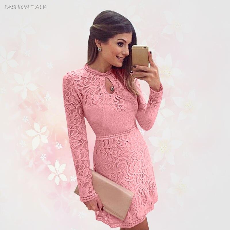 2015 nueva moda Sexy Hollow Crochet rosada mujer manga larga vestido ...