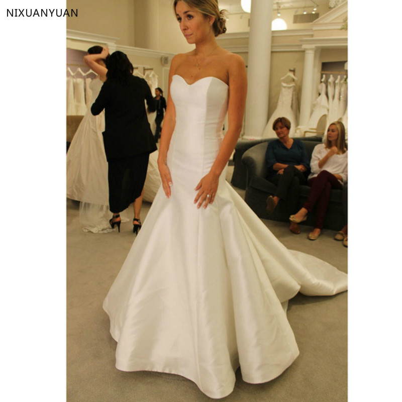 Cheap Mermaid Wedding Gowns: White Simple Mermaid Wedding Dresses Satin Sweetheart