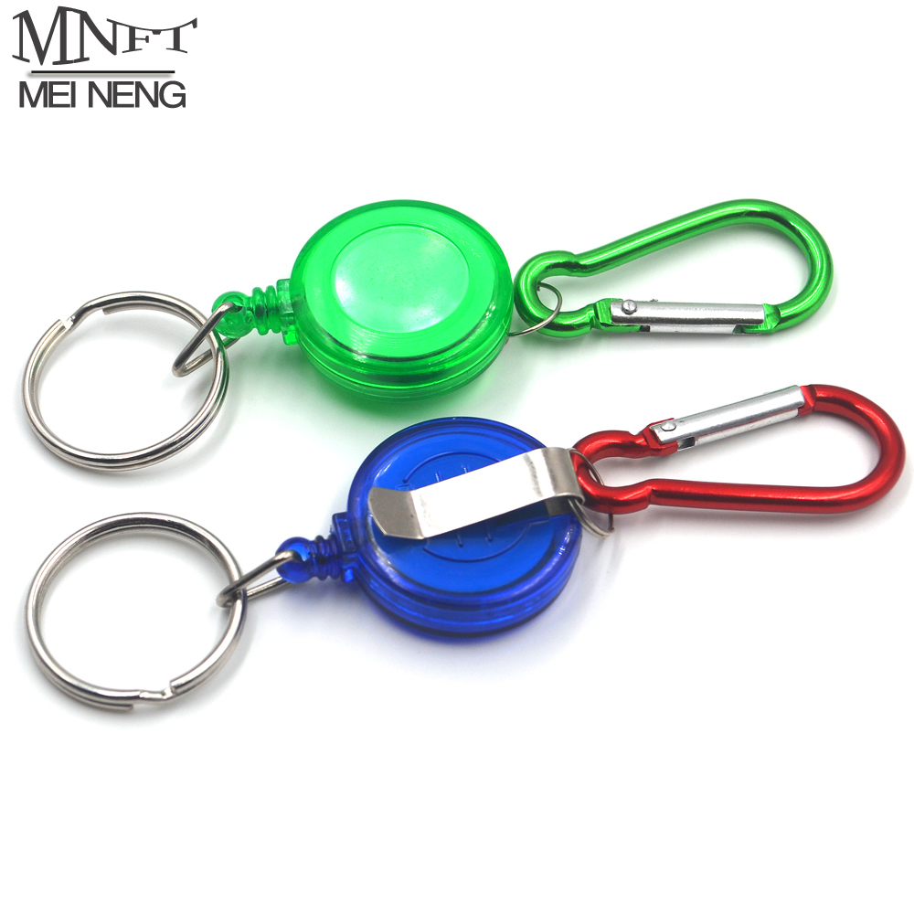 MNFT 2Pcs Fly Fishing Tool Zinger Retractor Stopper Holder Pin On Retractable Reel Badge Holder Key Chain Nylon Cord