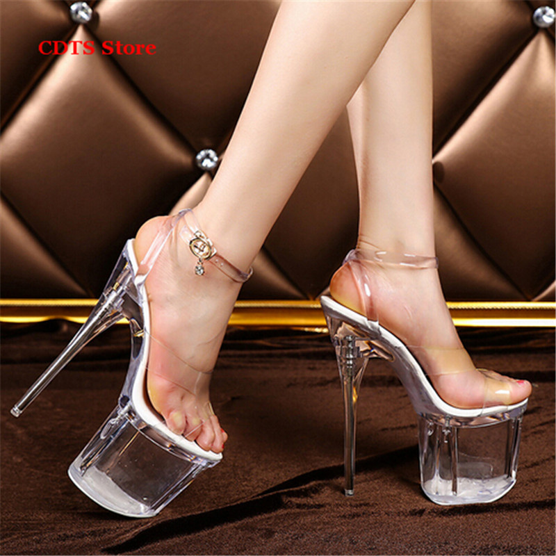 ФОТО Crossdresser sandalias mujer Summer buckle sandals 20cm thin heels sexy Peep toe transparent platforms pumps women wedding shoes