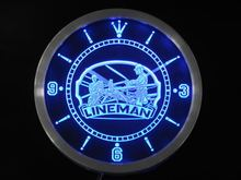 nc0391 Lineman Decor Bar Beer Gift Neon Sign LED Wall Clock
