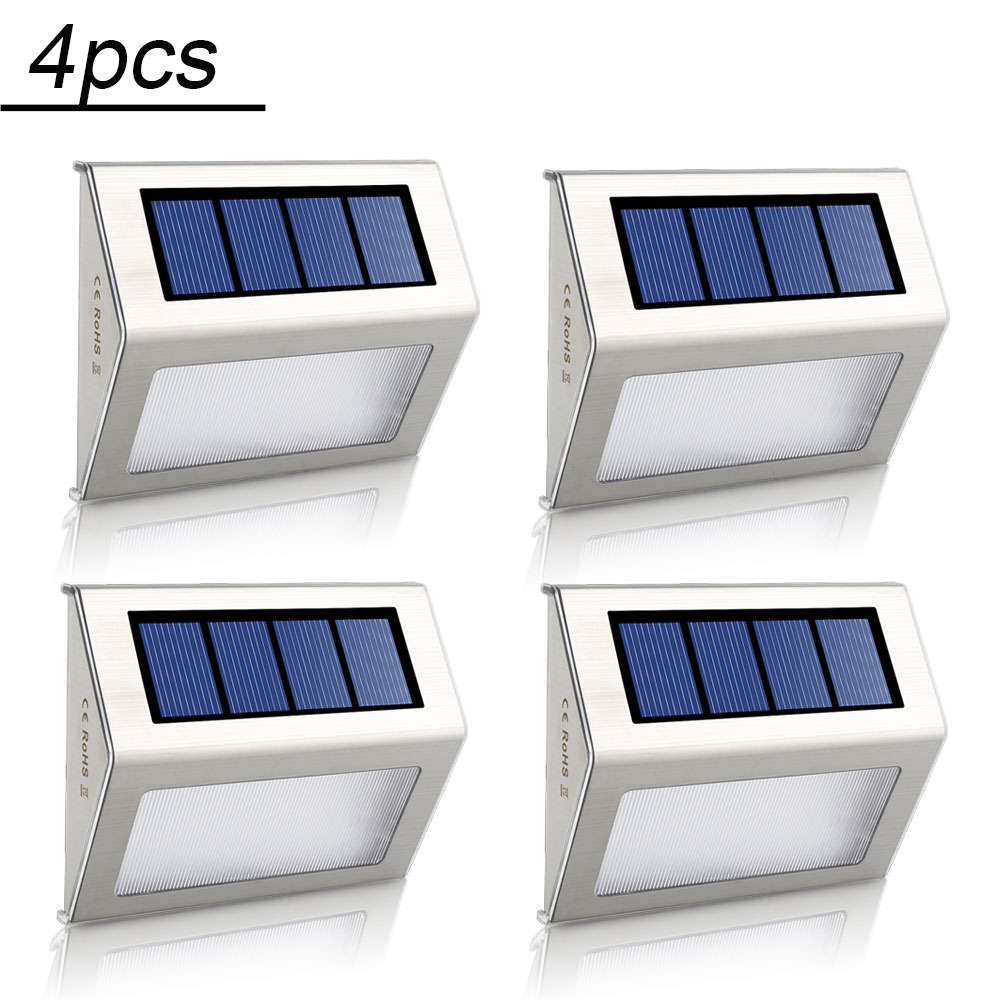 цены 4pcs 2pcs LED Solar Lamp Waterproof IP65 Solar Light Power Garden LED Solar Lights Outdoor Wall Lamps Stairs Energy Saving