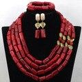Excelente Red Beads Boda Africanos Joyería Conjunto Regalo de La Joyería de Coral Perlas Nupcial Conjunto Real de Compromiso Joyería Envío Gratis CNR449