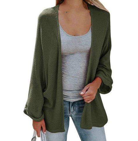 2019 autumn and winter womens sweater knit cardigan Long paragraph Bat sleeve thin