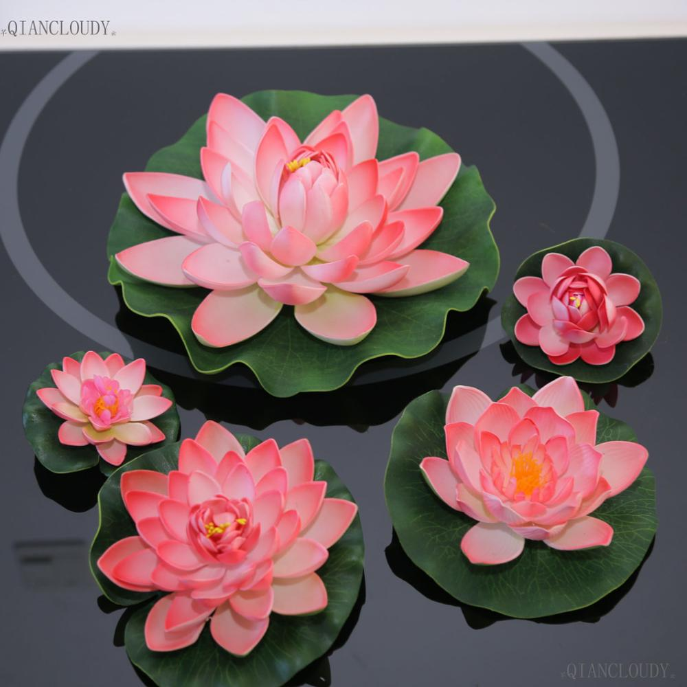 Artificial Pink Lotus Leaves flowers Water Lily Floating Pool pond ...