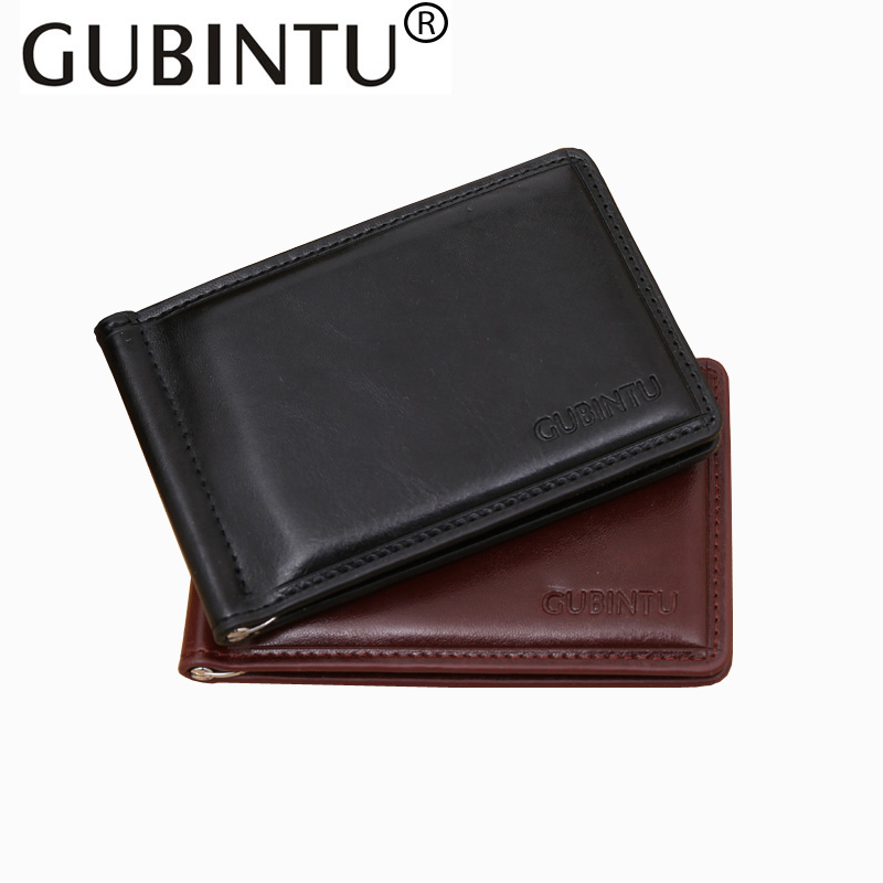 GUBINTU New Fashion PU Money Clips Stainless Steel Money Clip Famous Brand Money Clip Wallets with Coin Pocket and ID Holder