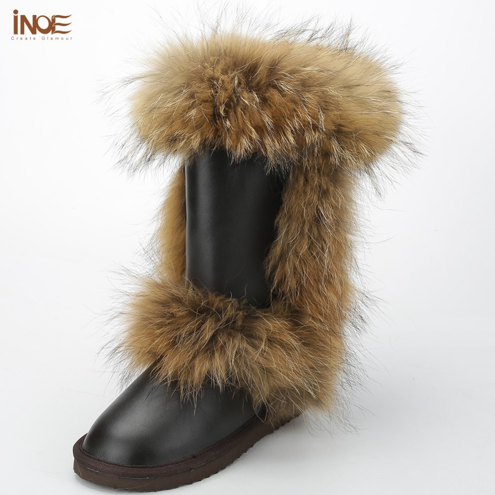 INOE fashion snow boots for women winter shoes high boots cow split leather fox fur boots brown black high quality waterproof inoe fashion big fox fur real cow split leather high winter snow boots for women winter shoes tall boots waterproof high quality