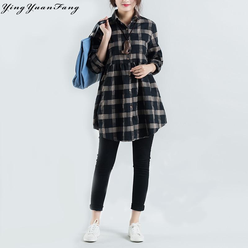 YingYuanFang New fashion casual Cotton and Linen plaid women's long sleeve lapel shirt