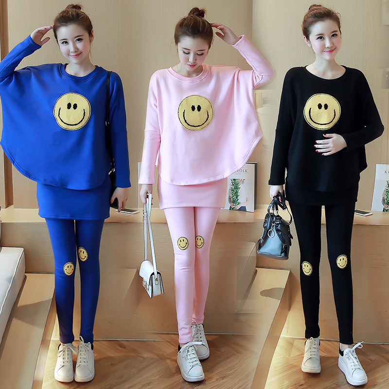 Emoji Maternity Suit long sleeve T-shirt + pant Pregnant Breast Feeding Clothes Clothes For Pregnant Women clothes outwear maternity pregnant women suit for breast feeding clothes pregnancy womens pajamas sets long sleeve pants 3 pieces striped style