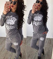Womens Casual Loose long Sleeve Print Sweatshirt Pullover tops +long Pants 2Pcs Queen Tracksuit