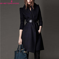 Women winter cashmere coat long belted military wool pea thick coat British style casacos feminino outwear high quality 7015