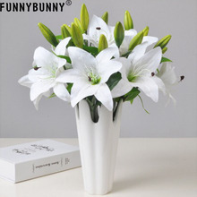FUNNYBUNNY Artificial Lily Fake Flower Wedding Party Decor Bouquet Home Hotel Office Garden Craft Art
