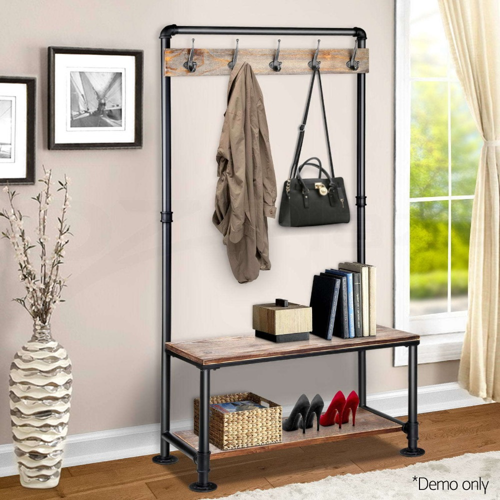 Industrial Clothing Rack Us 283 1 5 Off Diwhy Industrial Pipe Clothing Rack Pine Wood Shelving Shoes Rack Cloth Hanger Pipe Shelf In Wind Chimes Hanging Decorations From