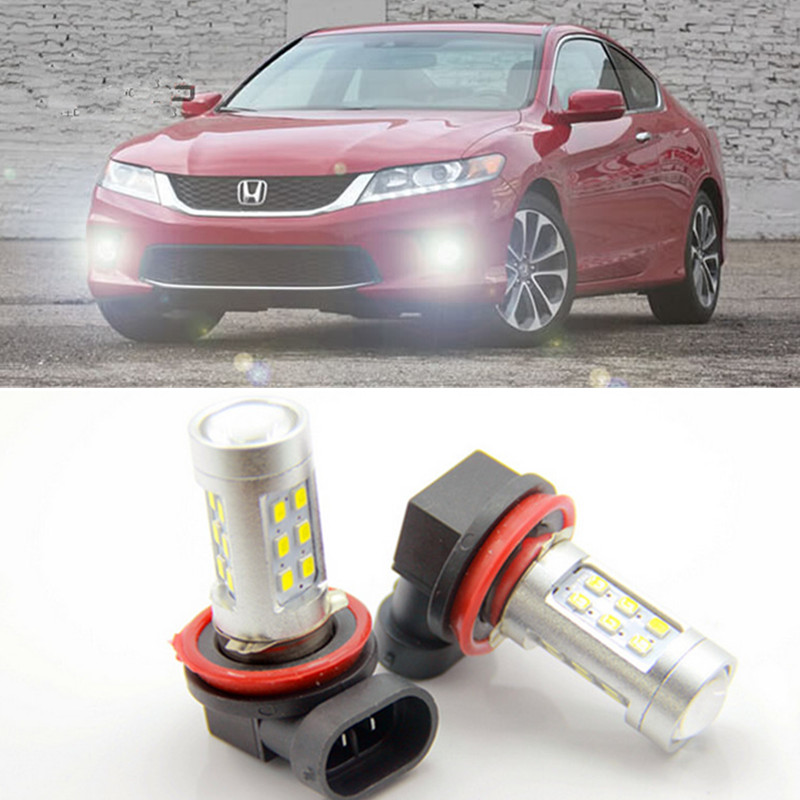 2x Bright Error free H8 H11 LED projector Fog Light bulb For honda civic fit accord Crider crv error free t20 socket 360 degrees projector lens led backup reverse light r5 chips replacement bulb for subaru outback