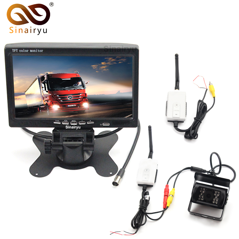 12-24V Car Reversing Kit 7 TFT LCD Monitor + CCD IR Backup Camera For Van/Truck+2.4G Wireless AV Cable Transmitter and Receiver dc 12 24v 7 lcd car parking monitor ir night vision ccd ir backup camera 4 pin video cable 10m 15m 20m for bus van truck