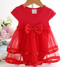 M.Dian xi Cotton Bow New Born Baby Dress with Baby Rompers S