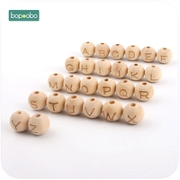 Bopoobo Wooden Maple Teether Round Shape 12mm 30pc Chew Food Grade Teether Letter Beads DIY Crafts  Sensory Chewing Toy