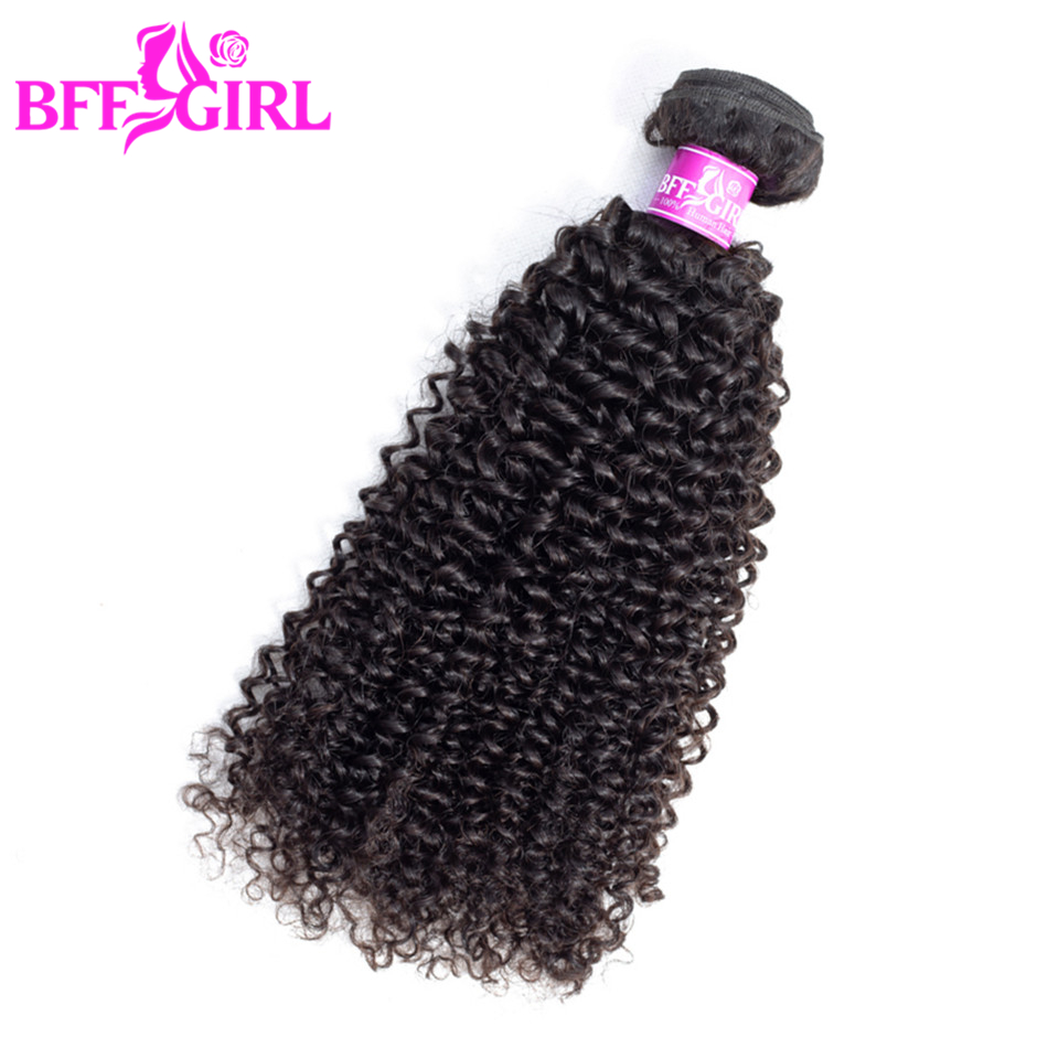 BFF GIRL Indian Kinky Curly Hair Bundles 100% Human Hair Weave Can Buy 3 or 4 Bundles Natural Color Non Remy Hair Extension ...