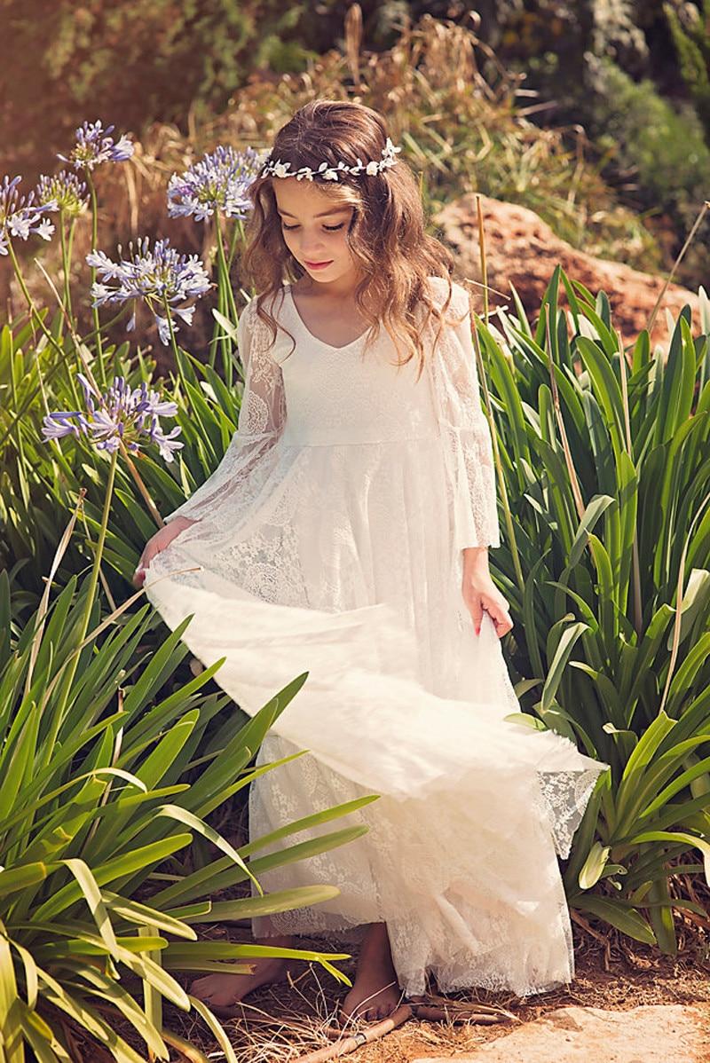 Beauty Lace White Flower Girls Dresses Long Sleeve A-line Little Kids Party First Communion Dress kommunionskleid