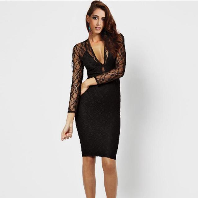 Plus Size Popular Women Sexy Black Lace Dress Short Club Pencil Dress  Summer Dresses Deep V-neck Backless Black Lace Dress 9c37da88b55e