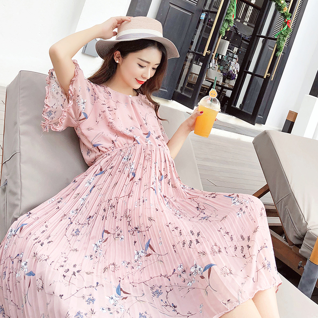 a5f7dfa47bf01 Afei Tony Fashion 2017 summer pregnancy dress loose maternity dresses Grey  Blue maternity blouse Chiffon pregnant women dresses