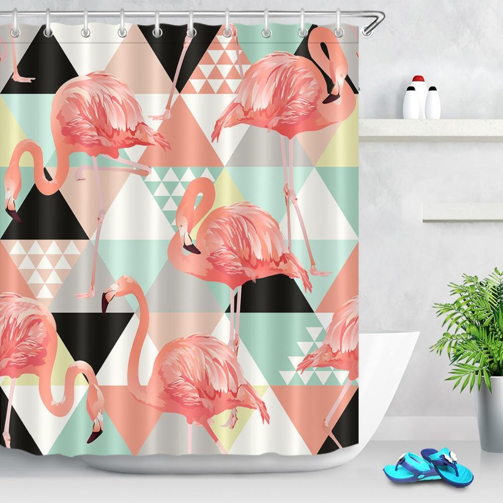 Pink Flamingo Bathroom Decor.Us 14 43 46 Off Lb Shower Curtain Green Monstera Red White Black Geometry Pink Flamingo Bathroom Curtains For The Home Bath Decor 150 180cm In