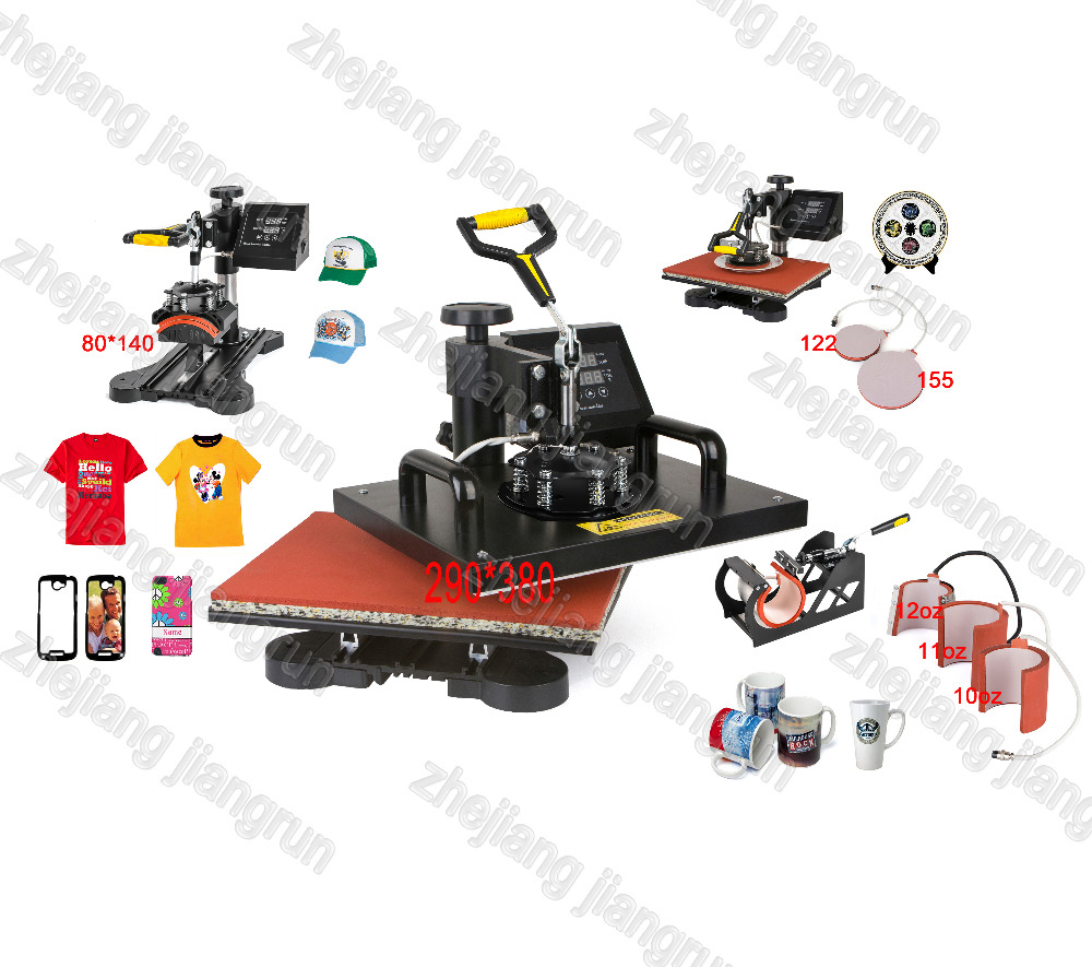 7 IN 1 T shirt/Mug/Cap/Plate/Mouse Pad/Iphone Case Printer,Combo Heat Press Machine, printer ,Heat Transfer Machine wtsfwf 30 38cm 8 in 1 combo heat press printer machine 2d thermal transfer printer for cap mug plate t shirts printing
