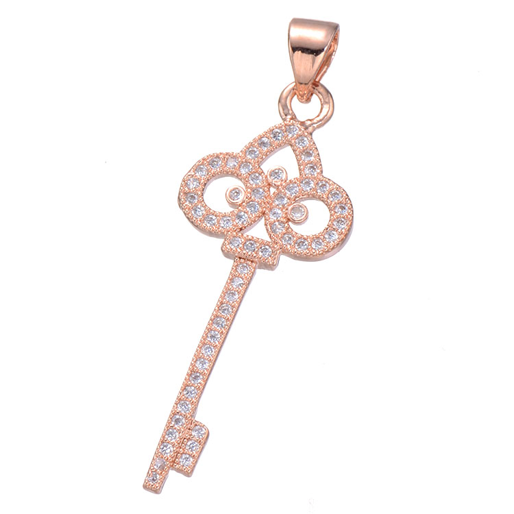 3 Colors New Design Hot Fashion Charm Luxury Sweater Chain Key Pendant Necklace Micro Pave Zircon Irises Statement Pendant