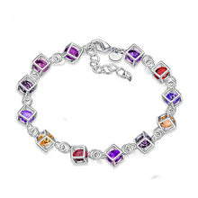 Hollowed out Cube Inlay Multicolor zircon Bangles Bracelet For Women Trendy Silver Plated Cuff Jewelry Drop shipping Wholesale chic hollowed geometric cuff bracelet for women