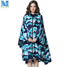 Trench Coat Style Hooded Women Raincoat Outdoor Long Rain Poncho Waterproof 3 Colors Rainwear