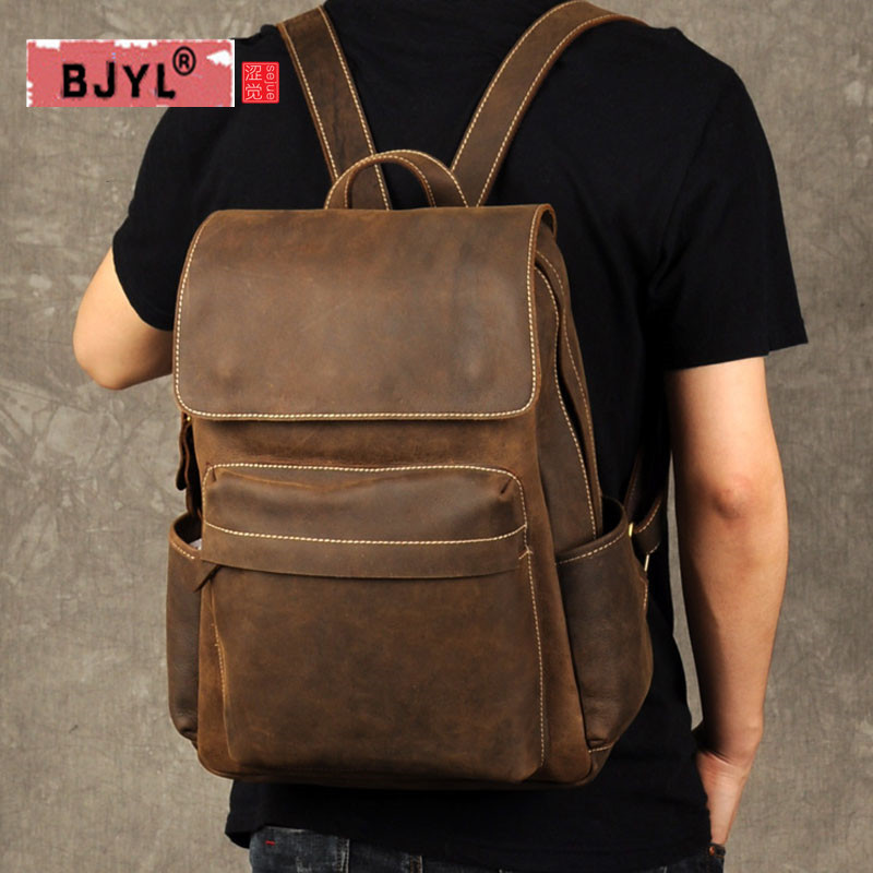BJYL Crazy Horse Leather Men Backpack retro casual male Genuine leather travel bag simple tide school large capacity Laptop Bags все цены