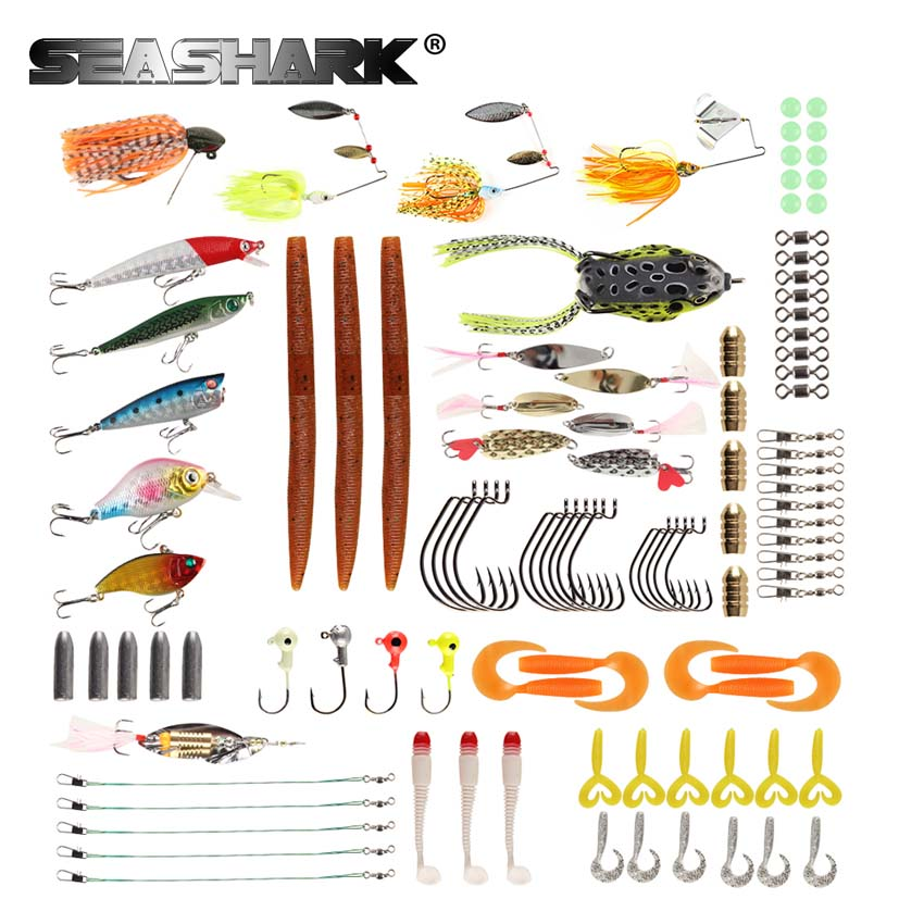 SEASHARK 102Pcs/set Fishing Lures Set Mixed Minnow Popper Spoon Hooks Fish Lure Kit In Box Isca Artificial Bait Fishing Gear 10pcs 7 5cm soft lure silicone tiddler bait fluke fish fishing saltwater minnow spoon jigs fishing hooks