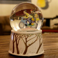 Rotating Crystal Ball Music Box Automatic Float Snow Bicycle Lovers Lovers Music Box Valentine's Day Gift LM01101123
