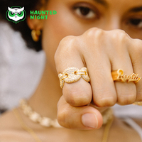 Gold color Pig Nose Link ChainCubic Zirconia Ring Hip hop Street Cuban Ring Brand Exclusive Designer For Men And Women