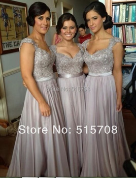 Hot Sale  Grey Chiffon Long Bridemaids Gowns Floor Length Cap Sleeve Prom Wedding Party Dresses Custom Make Free Shipping