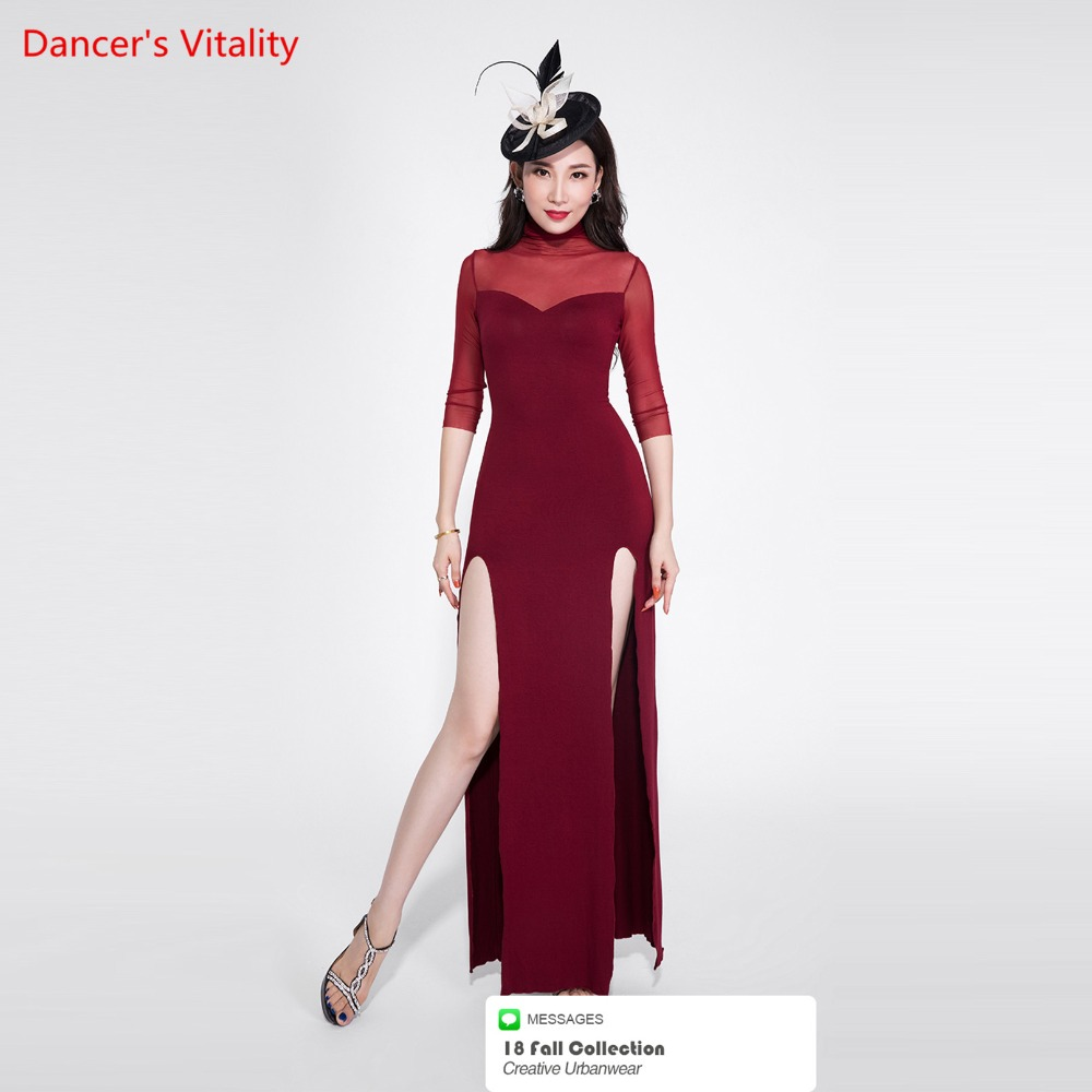 Sexy Lady's Wine Red Dress Fishtail Belly Dance