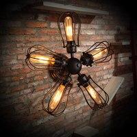 Лофт Винтаж промышленный Ретро кованый вентилятор Эдисона Бра Лампа для ресторанов и отелей лестницы домашний Декор современный светильни