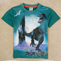 T-shirt dos miúdos meninos roupas de marca mundo jurássico dinossauro camisa com mangas curtas sobre a menino crianças roupas da moda verão 2017