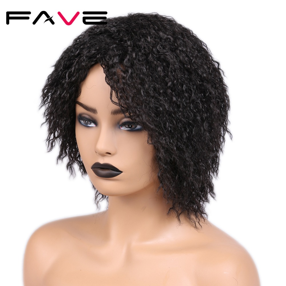 Image 5 - FAVE 12 Inches  Short Afro Curly Synthetic Wig Natural Black For Black Women High Temperature Fiber Cosplay Fashion WigsSynthetic None-Lace  Wigs   -