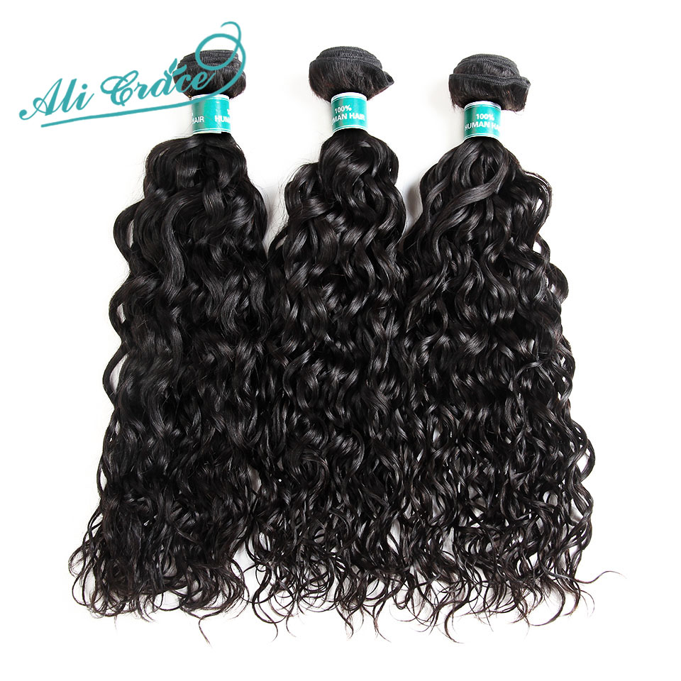 Hair-Extension Bundles Ali-Grace 100%Human-Hair Brazilian Wave Remy 12-28inch Natural