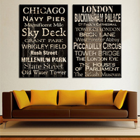 2 Piece Chicago And London Top Decorative Wall Paintings For Home Decor Idea Oil Painting Art