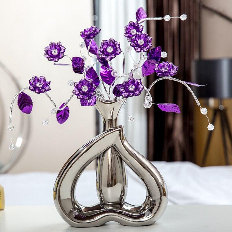 Creative Cadeaux de mariage Cristal fleur Décoration Artisanat Coeur en forme de vase porcelaine Figurines et Miniatures Maison Décor 5 couleur